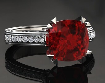 Ruby Engagement Ring Cushion Cut Ruby Ring 14k or 18k White Gold Matching Wedding Band Available W26RUBYW