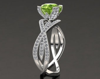 Peridot Engagement Ring Peridot Ring 14k or 18k White Gold SW4PERIW