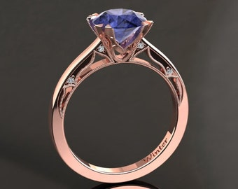 Tanzanite Engagement Ring Tanzanite Ring 14k or 18k Rose Gold Matching Wedding Band Available W22TANZR