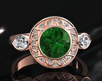Emerald Engagement Ring Halo Emerald Ring 14k or 18k Rose Gold W19GR