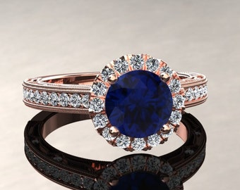 Blue Sapphire Halo Engagement Ring Blue Sapphire Ring 14k or 18k Rose Gold Matching Wedding Band Available W23BUR