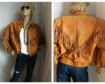 Vintage Suede Fringed Native Rocker Cropped Jacket Brown Size Small
