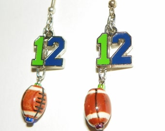 Seattle Seahawks Football 12th Man Earrings