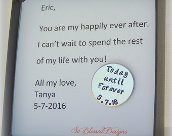 Groom Gift ideas, personalized wedding date coin, Today until Forever coin, hand stamped coin, Bride to GROOM gift, personalized groom gift