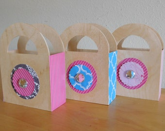 Wooden Party Favor Bags with Decoupage