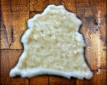 Winter Coat Sheepskin Pelt Rug - The Hollister - Premium Faux Fur - Thick Off White with Brown Tips - Designer Shag by Fur Accents USA