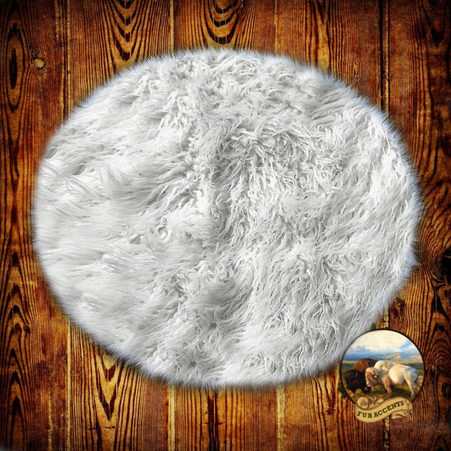 Soft Faux Fur Area Rug Round Shaggy Shag Fake Fur By