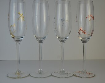 "4 flutes champagne ""Butterflies of light"""