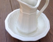 Ironstone Pitcher and Bowl Vintage Farmhouse (171.1)