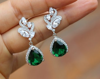 silver Emerald earring green earring wedding earring drop earring bridesmaid earring