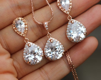 rose gold jewelry set bridal jewelry set bridesmaid jewelry bridal earring