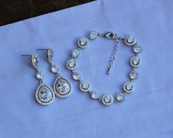 bracelet and earring set bridal jewelry set wedding jewelry set bridesmaid set bridal bracelet
