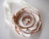 Destash SALE - Beige and Ivory Headband - Over the Top Flower Headband -  Singed Toddler Headband - Tan Ivory Headband - Big Rose Headband
