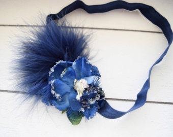Great Gatsby Headband - Vintage Style Headband - Navy Flapper Girl Headband - Adult Headband - Baby Girl Headband - 1920s Headband