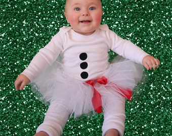 Snowman Christmas Outfit Costume, buttons, baby leg warmers