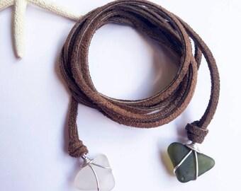 Leather Chokers - Sea Glass - Wrap Choker - Green and White