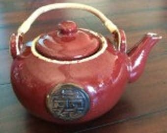 Stoneware Teapot, Brick Colored Teapot, Asian Designed Teapot, Hand Thrown Teapot, Heavy, Hand Made Teapot, Family Teapot, Large Teapot