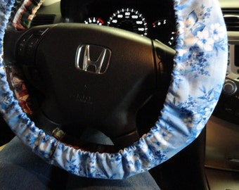Blue and White Floral Steering Wheel Cover