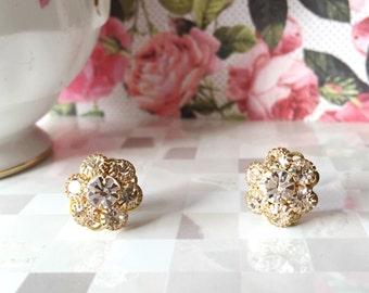 Crystal Stud Earrings | Crystal Flowers | Vintage Swarovski Crystal | Sterling Silver | Post Earrings | Floral Earrings