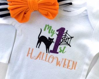 My First Halloween, Halloween Onesie Girls, Halloween Headband, Baby Halloween Outfit, Girls Halloween Clothing, Halloween Shirt Girls