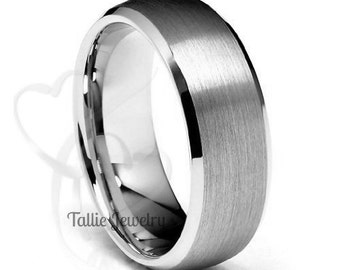 Mens 18K White Gold Wedding Band Ring  7MM Wide  Sizes 4-12  Free Engraving  New