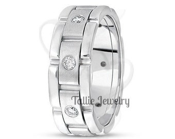 18K White Gold Handmade Wedding Band Ring  7MM Wide  Sizes 4-12  Free Engraving  New