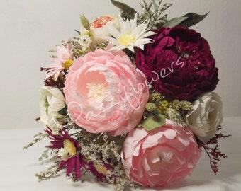 Wedding bouquet,bridal bouquet,paper flower peony,paper flowers daisies, ranunculus.