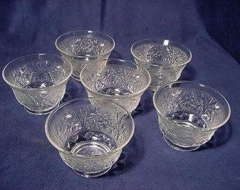 Vintage Set of (6) Anchor Hocking Sandwich Pattern Custard Cups