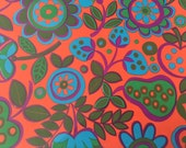 Vintage Gift Wrapping Paper- All Occasion Groovy Bright Fruits and Floral Design - 1 Unused Full Sheet Floral Gift Wrap