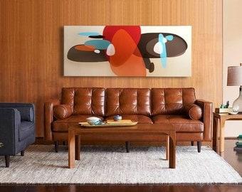 HUGE 5 foot mid century modern eames era MCM danish modern retro canvas painting