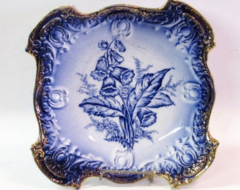 Cobalt Blue Cake Plate Sebring Porcelain Antique Gold Blue Flowers