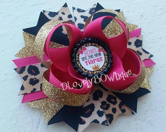 "Leopard Hair Bow -""Bows are the new Tiaras"" Cute Saying Hair Bow -Animal Print Hair Bow -Cheetah Hair Bow - Pink, Black & Gold Hair Bow"