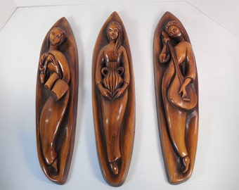 Vintage Music Literature The Arts Wall Plaques Set of Three 3 Art Deco Art Nouveau Mid Century Modern Gold Chalkware Plaster Wall Hangings