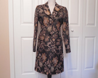 Vintage Tapestry Coat By Newport News Size 4 Small Black Gold And Silver Tapestry Dress Coat Jacket Blazer Tailored Fitted Cut Style Lined