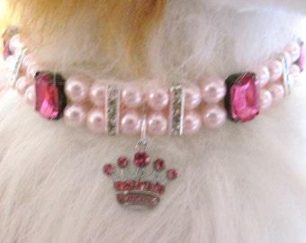 Dog/Cat Collar Pink Princess Necklace, Dog Pearl Collar Necklace, Cat Pearl Collar Necklace,  Pet Rhinestone Collar, Pet Gift