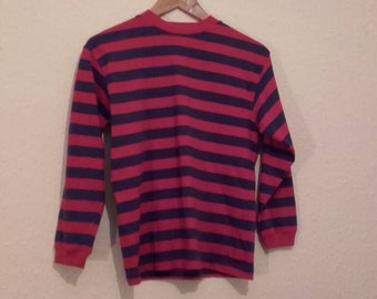 Purple and red stripe long sleeve jersey t shirt