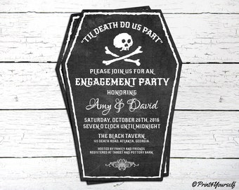 Halloween Invite // Personalized Printable Til Death Do Us Part Halloween Casket Engagement Party Invitation // Skull Invite