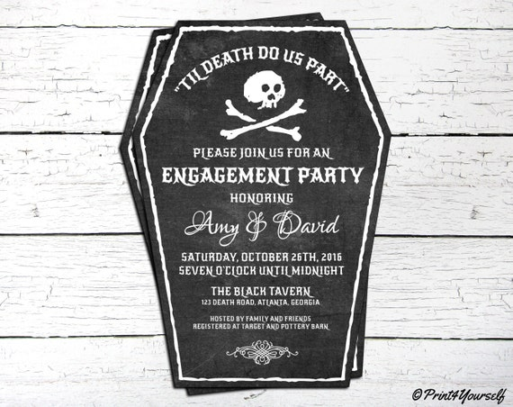 Halloween Invite Personalized Printable Til Death Do Us Part