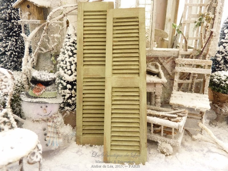 Distressed Shabby Green Pair Of Shutters French Country
