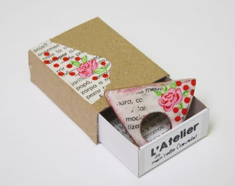 Recycled Book Paper Ring Handpainted & Little gift Box