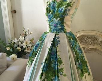 1950s Vintage Wedding Dress summer teal blue Summer    dress cotton floral