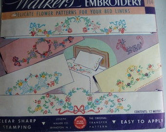 Vintage Walkers 714 Embroidery Transfer - Flower Patterns