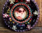 Day-of-Dead-Calavera-Ornament / Dia de los Muertos Mini Altar / Miniature Circular Shrine / Retablo Circle Shrine / Wall Decor Nicho