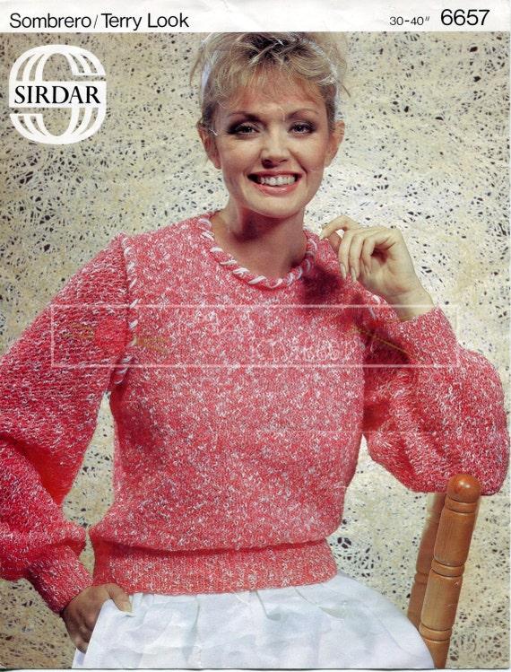 "Lady's Sweater 30-40"" DK Sirdar 6657 Vintage Knitting Pattern PDF instant download"
