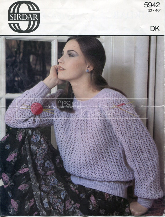 "Lady's Sweater 32-40"" DK Sirdar 5942 Vintage Knitting Pattern PDF instant download"