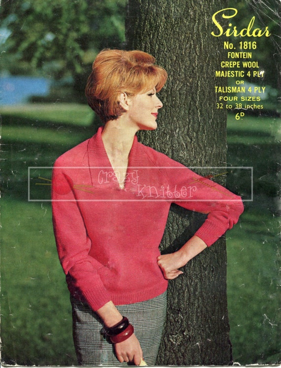 """Lady's Sweater 32-38"""" 4-ply Sirdar 1816 Vintage Knitting Pattern PDF instant download"""
