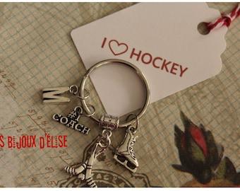 Personalized Go Team Hockey Keychain