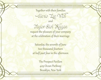 Scroll Border Wedding Invitation with Floral Background