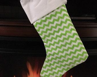 Ready to ship Christmas Stocking * Monogrammed * Green Chevron FREE SHIPPING