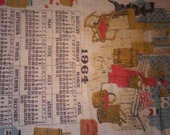"""Vintage 1964 victorian scene calender linen tea towel 15x28"""""""
